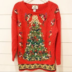 Vintage TIARA INTERNATIONAL Christmas Tree Sweater